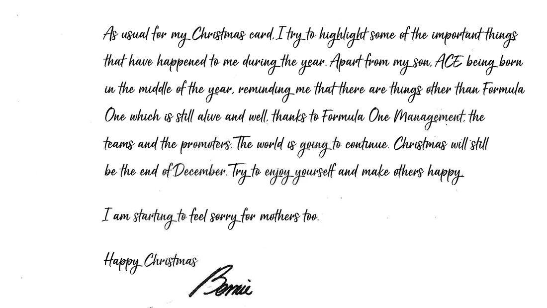 Bernie Ecclestone - Weihnachtskarte 2020 - Formel 1