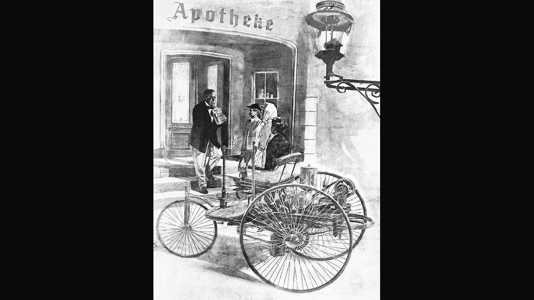 Bertha Benz und ihre Söhne Eugen und Richard