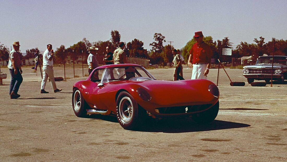Bill Thomas Chevrolet Cheetah GT Race Car brought to Riverside International Raceway for initial track testing.