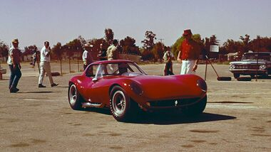 Bill Thomas Chevrolet Cheetah GT Race Car brought to Riverside International Raceway for initial track testing.