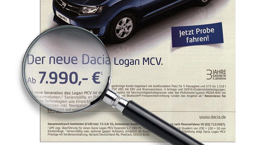 Billig-Autos, Lupe, Dacia