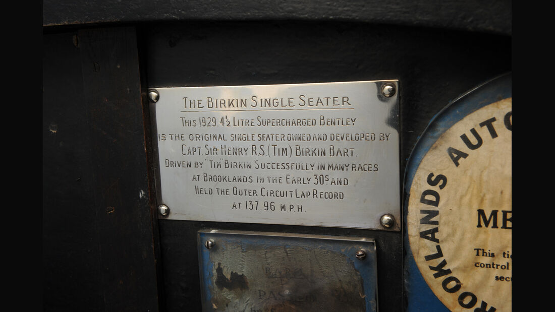 Birkin-Bentley Single-Seater, Messingtafel