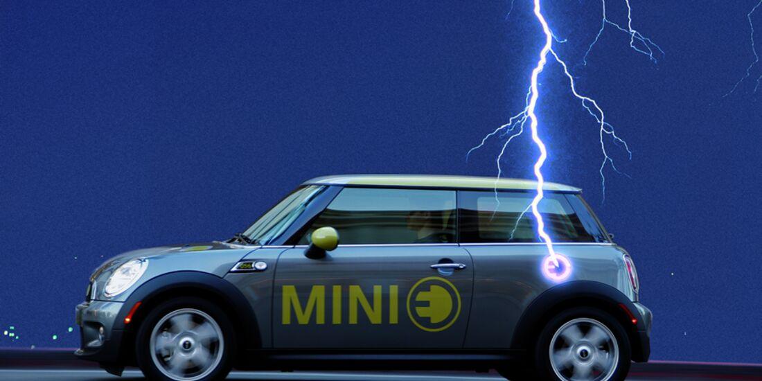 Blitz schlägt in Mini E ein