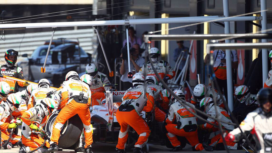 Boxenstopp Force India  - Formel 1 - GP England - 30. Juni 2013