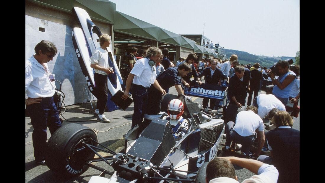 Brabham-BMW BT54 Turbo - Marc Surer - Charlie Whiting - Herbie Blash - GP Belgien 1985 - Formel 1