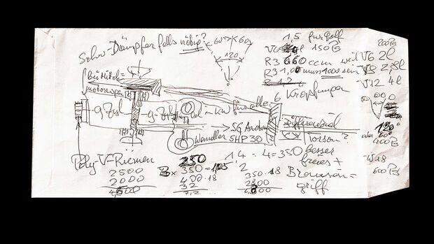Bugatti 18-Zylinder Skizze Ferdinand Piech 1997