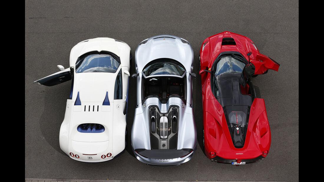 Bugatti Veyron Super Sport, Ferrari LaFerrari, Porsche 918 Spyder