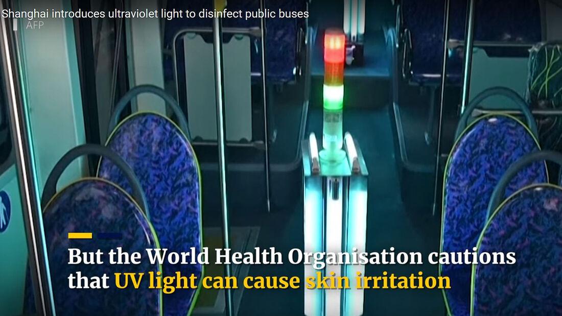 Bus-Desinfektion mit UV-Licht in Shanghai