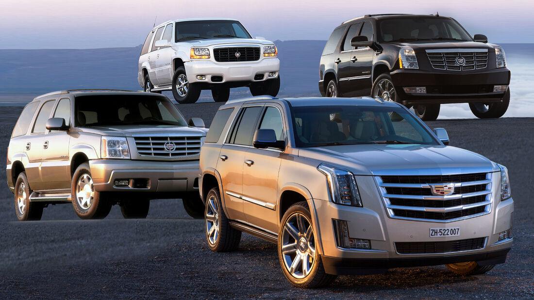 Cadillac Escalade Generationen 1 bis 4 Collage