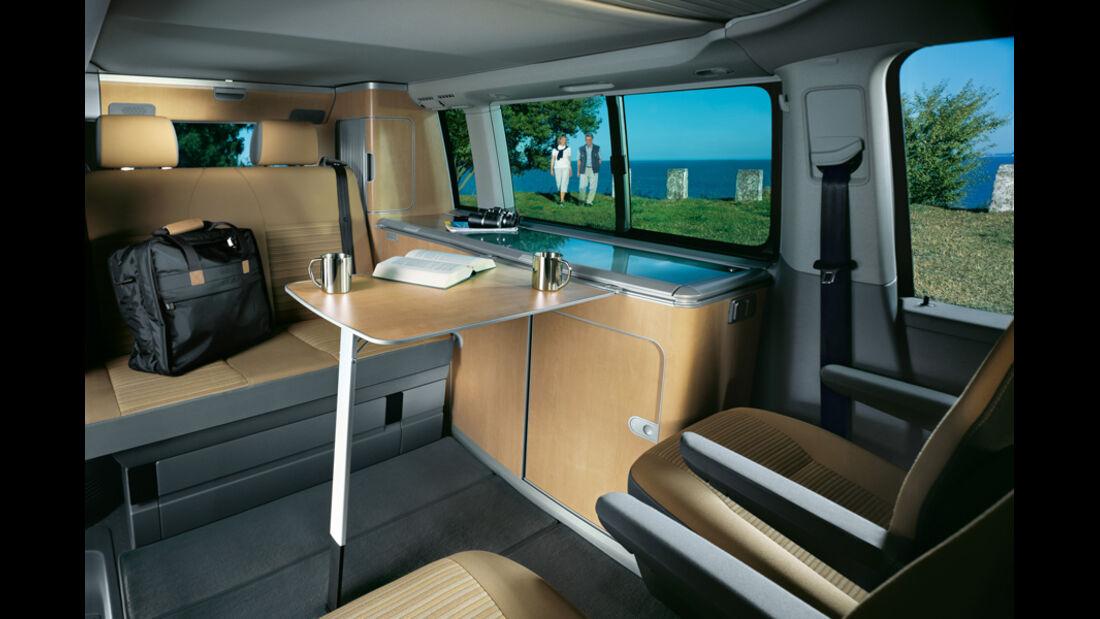 Campingbusse, VW California 3, Innenraum, Sitzgruppe