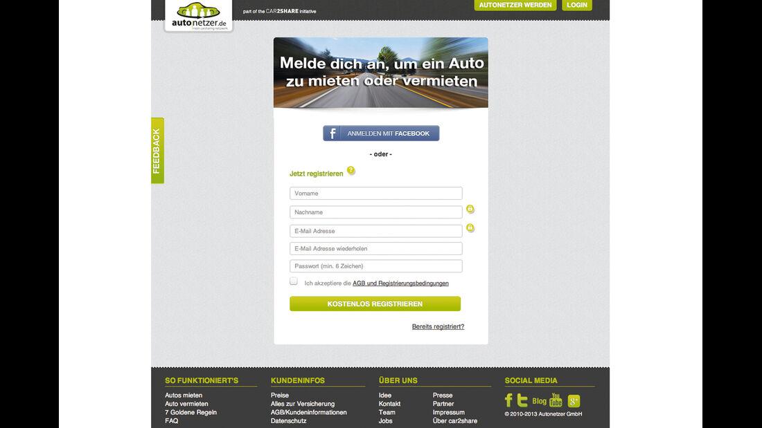 Carsharing, Homepage, autonetzer