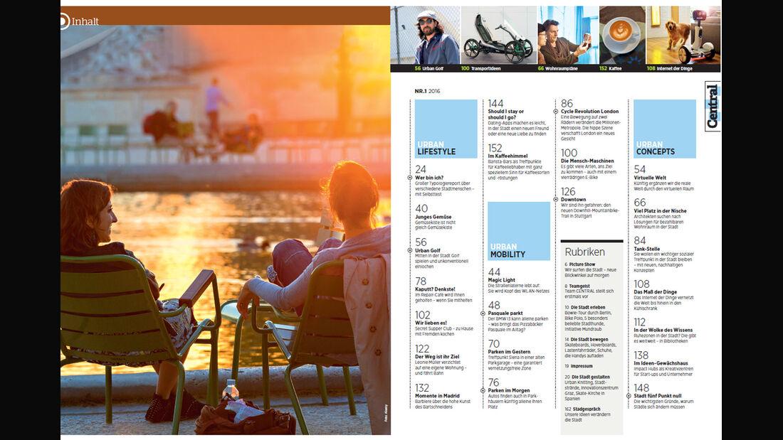 Central Magazin, Ausgabe 1, Urban Lifestyle, Neues Heft, 03/2016