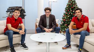 Charles Leclerc - Mattia Binotto - Carlos Sainz - Ferrari