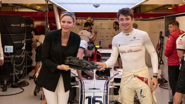 Charles Leclerc & Prizessin Charlene von Monaco - GP Abu Dhabi 2018