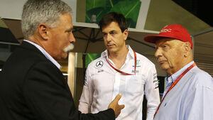 Chase Carey, Toto Wolff & Niki Lauda - GP Singapur 2016