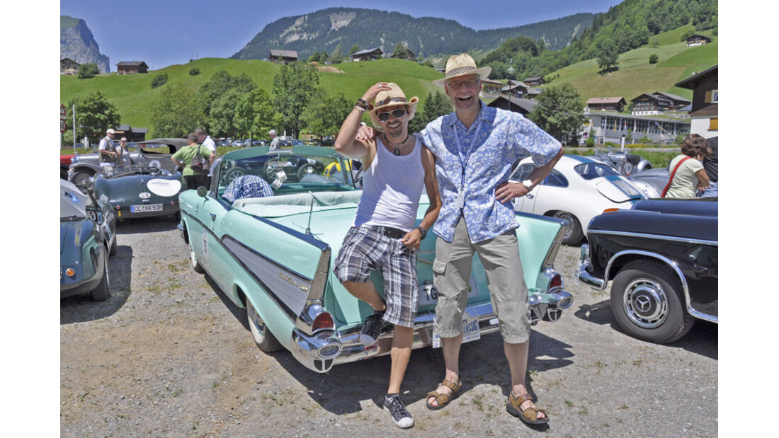 Chevrolet Bel Air Convertible bei der Silvretta Classic 2010 - Duschi B. Duschletta und Peter Huber