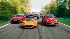 Chevrolet Camaro, Fiat 500 Abarth, Lotus Elise S, Mitsubishi Lancer Evo, Renault Megane R.S., Skoda Fabia RS, VW Scirocco R