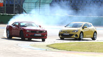 Chevrolet Camaro, Opel Astra OPC, Front, Driften