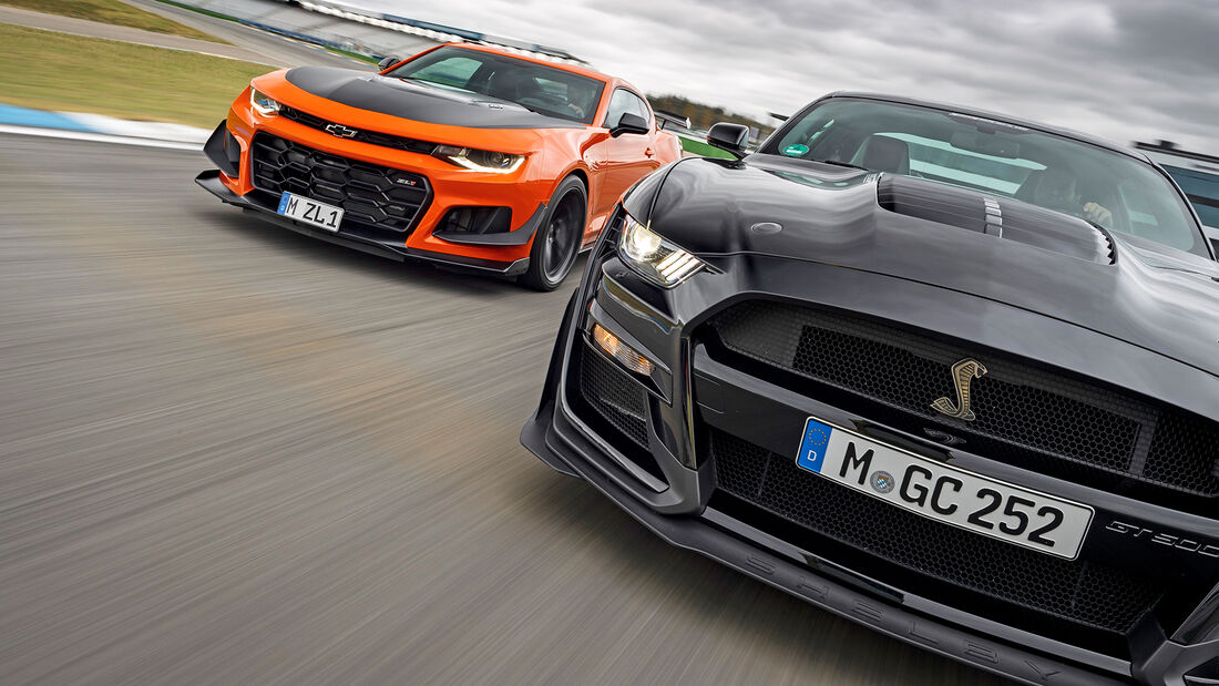 Chevrolet Camaro ZL1, Ford Mustang Shelby GT500, Vergleichstest, spa1220