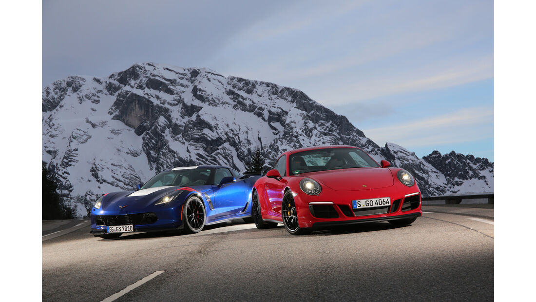 Chevrolet Corvette Grand Sport, Porsche 911 Carrera GTS, Frontansicht