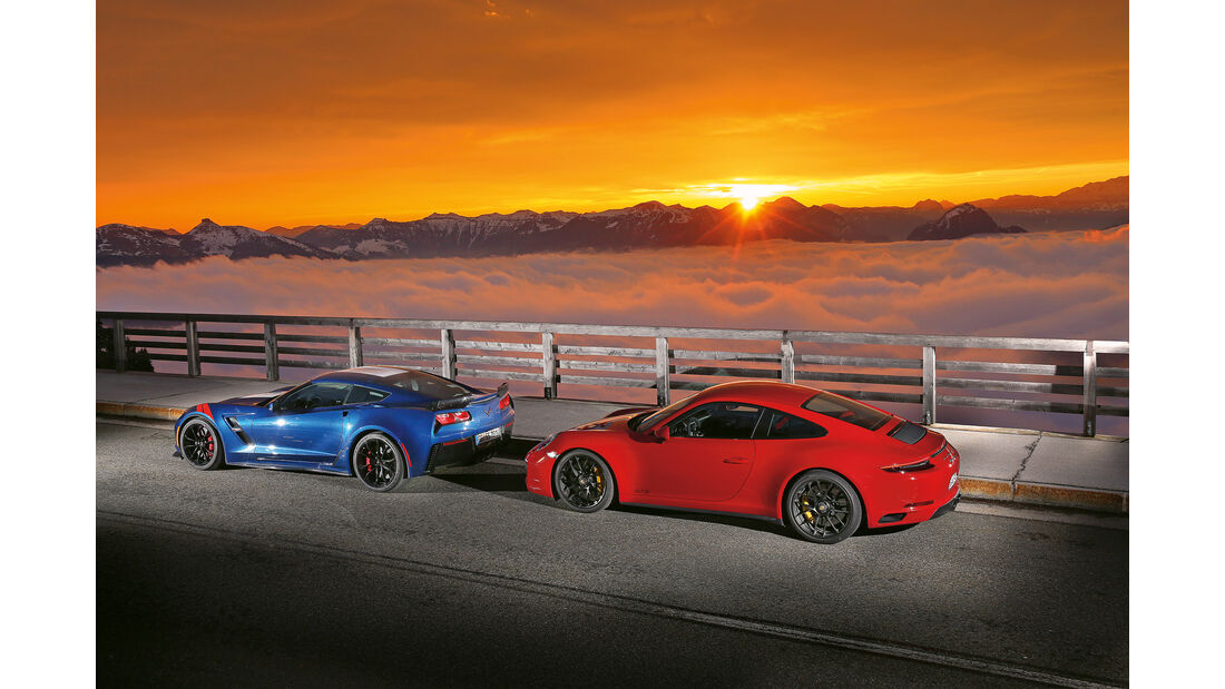 Chevrolet Corvette Grand Sport, Porsche 911 Carrera GTS, Seitenansicht