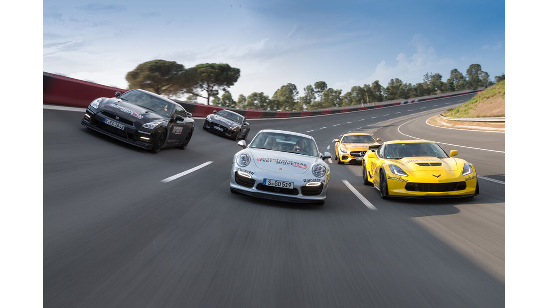 Chevrolet Corvette, Jaguar F-Type, Mercedes-AMG GT, Nissan GT-R, Porsche 911