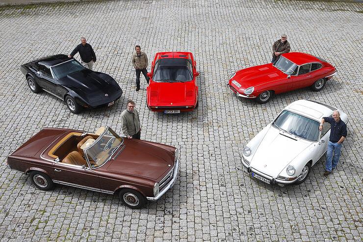 Chevrolet Corvette Stingray, Ferrari 308 GTSi, Jaguar E Coupe 4.2, Mercedes-Benz 280 SL, Porsche 911 S