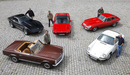 Chevrolet Corvette Stingray, Ferrari 308 GTSi, Jaguar E Coupe 4.2, Mercedes-Benz 280 SL, Porsche 911 S