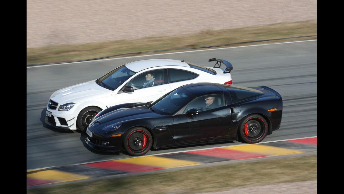 Chevrolet Corvette Z06, Mercedes C 63 AMG Black Series, Seitenansicht