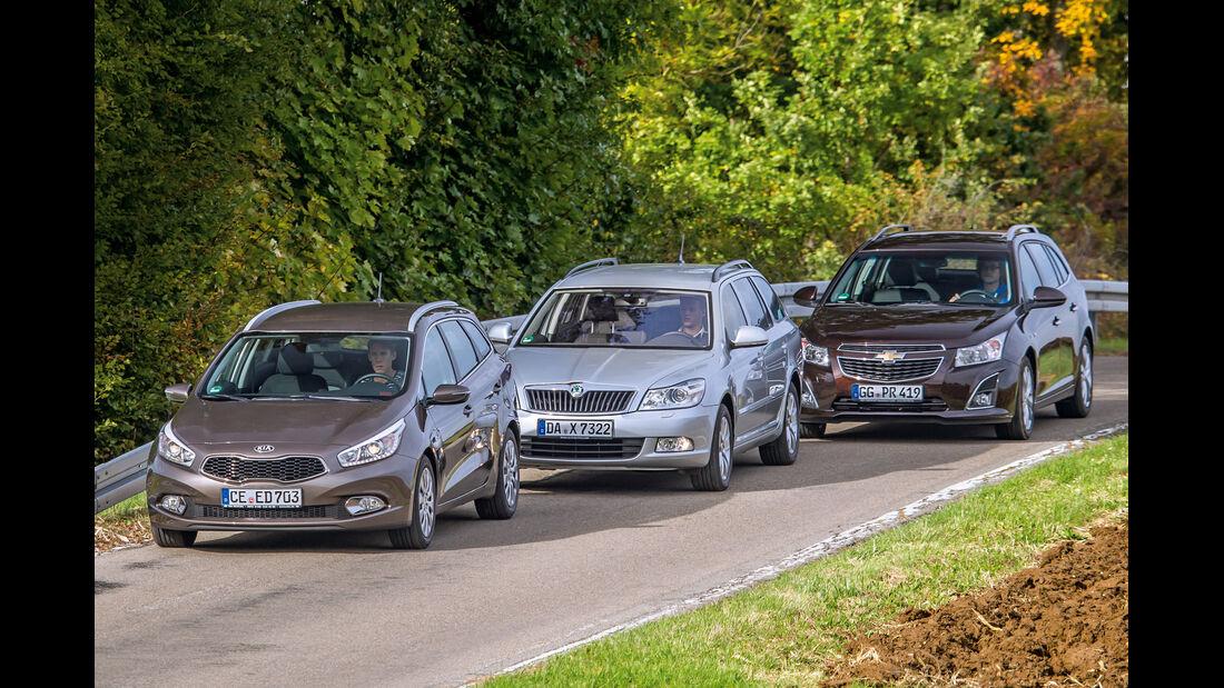 Chevrolet Cruze SW, Kia Ceed SW, Skoda Octavia Kombi, Frontansicht
