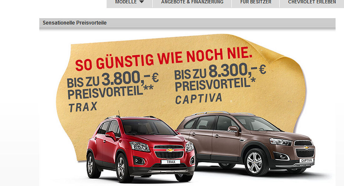 Chevrolet Rabatte Screenshot