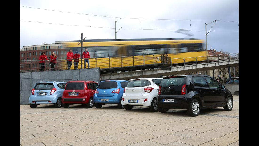 Chevrolet Spark, Fiat Panda, Hyunda i i10, Renault Twingo, VW Up, Heckansicht
