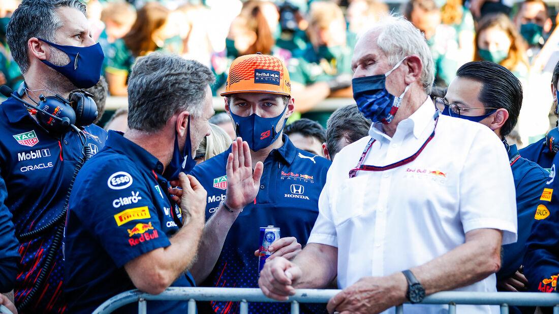 Christian Horner - Max Verstappen - Helmut Marko - Red Bull - GP Aserbaidschan 2021 - Baku