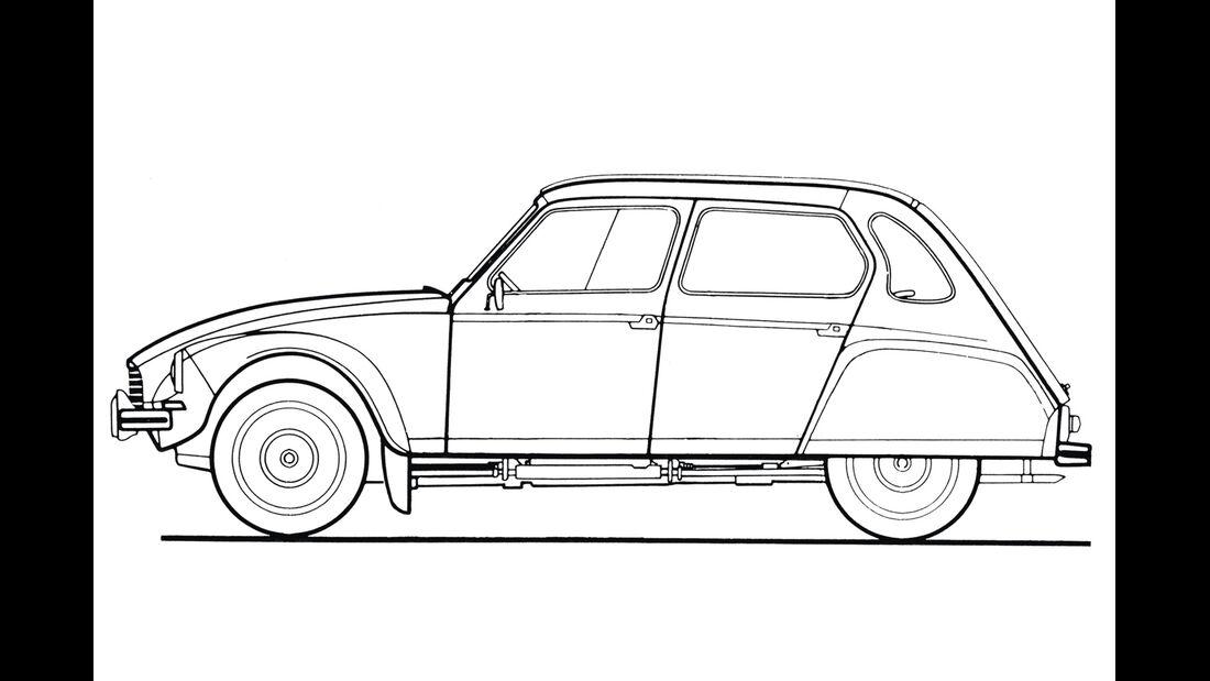 Citroën Dyane 4, Zeichnung