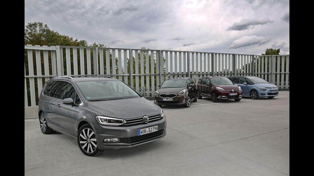 Citroën Grand C4 Picasso, Kia Carens 1.7 CRDi, Renault Grand Scénic dCi 130, VW Touran 2.0 TDI