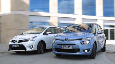 Citroën Grand C4 Picasso e-HDi 115, Toyota Verso 1.6 D-4D Life, Frontansicht