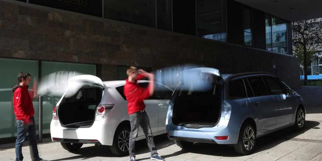 Citroën Grand C4 Picasso e-HDi 115, Toyota Verso 1.6 D-4D Life, Heckklappe