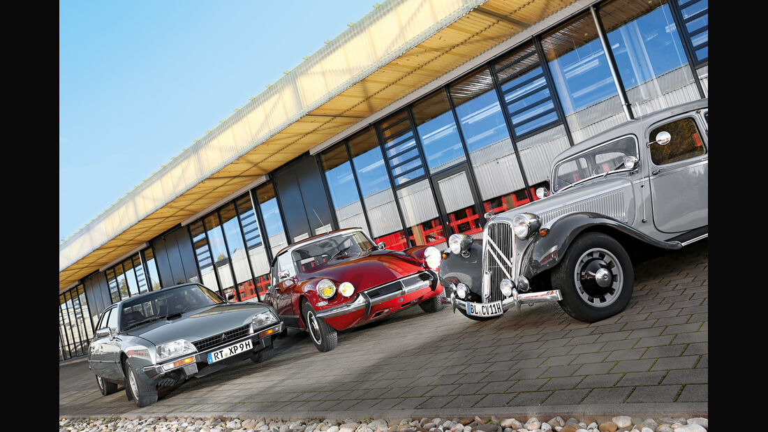 Citroen 11 CV, Citroen DS 21, Citroen CX GTI, Frontansicht
