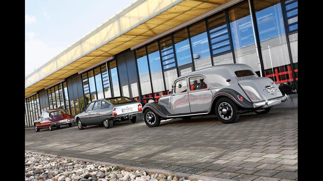 Citroen 11 CV, Citroen DS 21, Citroen CX GTI, Heckansicht