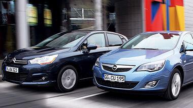 Citroen C4 Vti 120 und Opel Astra 1.4 Turbo im Vergleich, Teaser