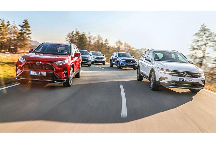 Citro-n-C5-Aircross-Mitsubishi-Outlander-Toyota-RAV4-Volvo-XC40-VW-Tiguan-Ist-der-Tiguan-auch-mit-Stecker-spitze-