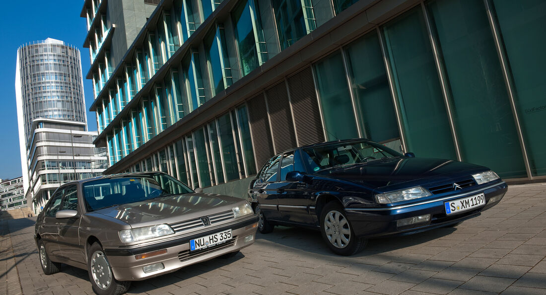 Citroen XM 3.0 V6 24 Exclusive, Peugeot 605 2.0 Sri, Frontansicht