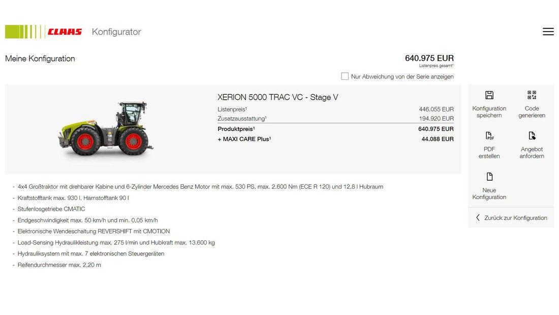 Claas Xerion 5000 Traktor Konfigurator