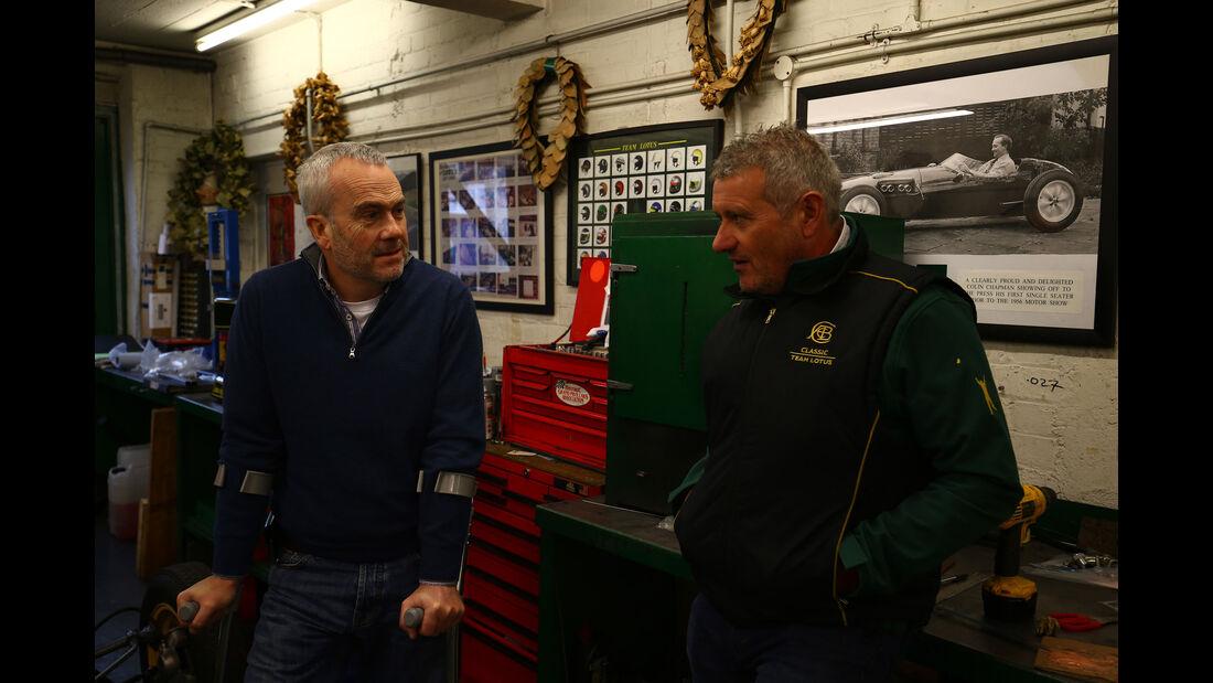 Clive Chapman - Chris Dinnage - Classic Team Lotus - Lotus Workshop - Werkstatt - Hethel - England