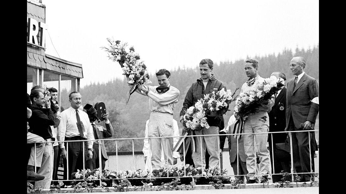 Colin Chapman - Jim Clark - Lotus - Graham Hill - BRM - Phil Hill - Ferrari - GP Belgien 1962 - Spa