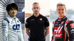 Collage F1-Rookies 2021 - Tsunoda, Mazepin & Schumacher