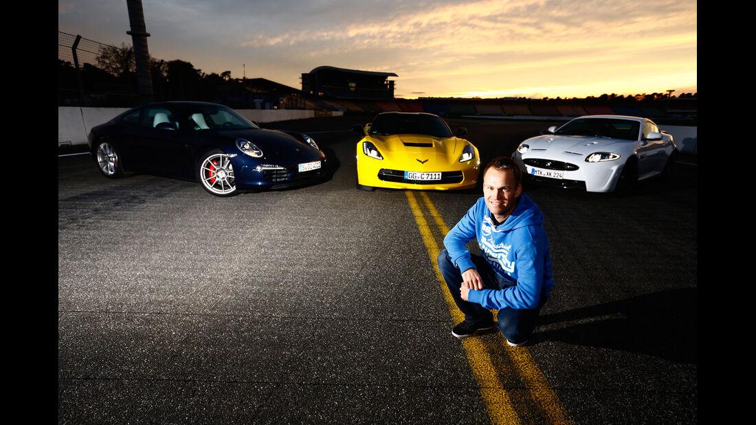 Corvette C7 Stingray, Porsche 911 Carrera S, Jaguar XKR-S, Christian Gebhardt