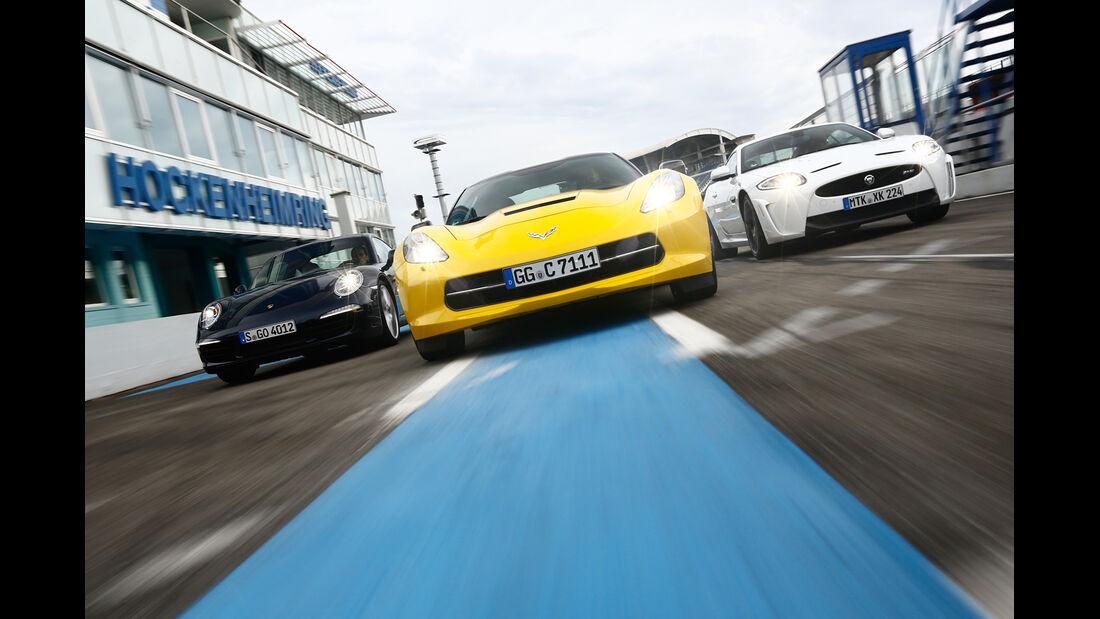 Corvette C7 Stingray, Porsche 911 Carrera S, Jaguar XKR-S, Frontansicht