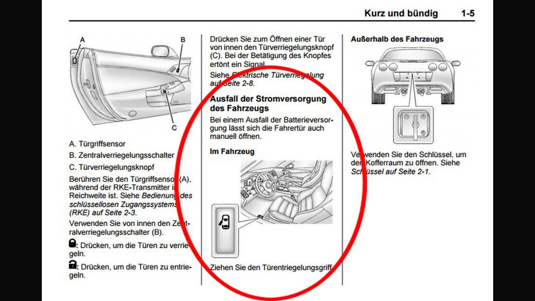 Corvette Türöffnung Bedienungsanleitung