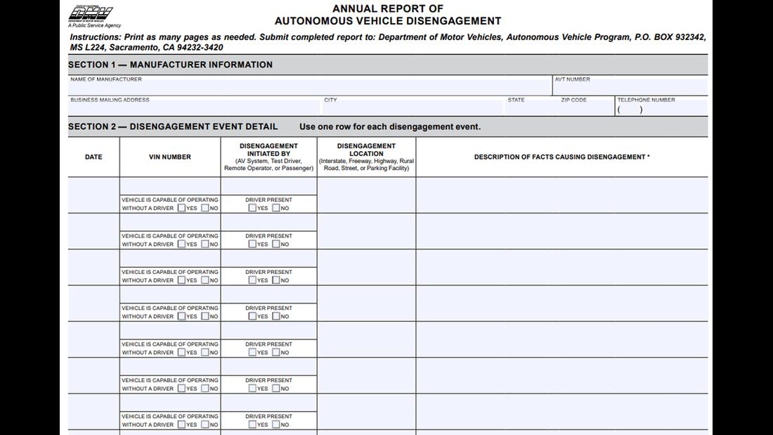 DMV Report Disengagement Kalifornien